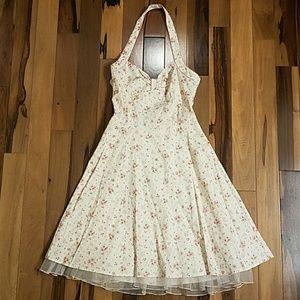 🌟Pink/White Halter Summer Dress